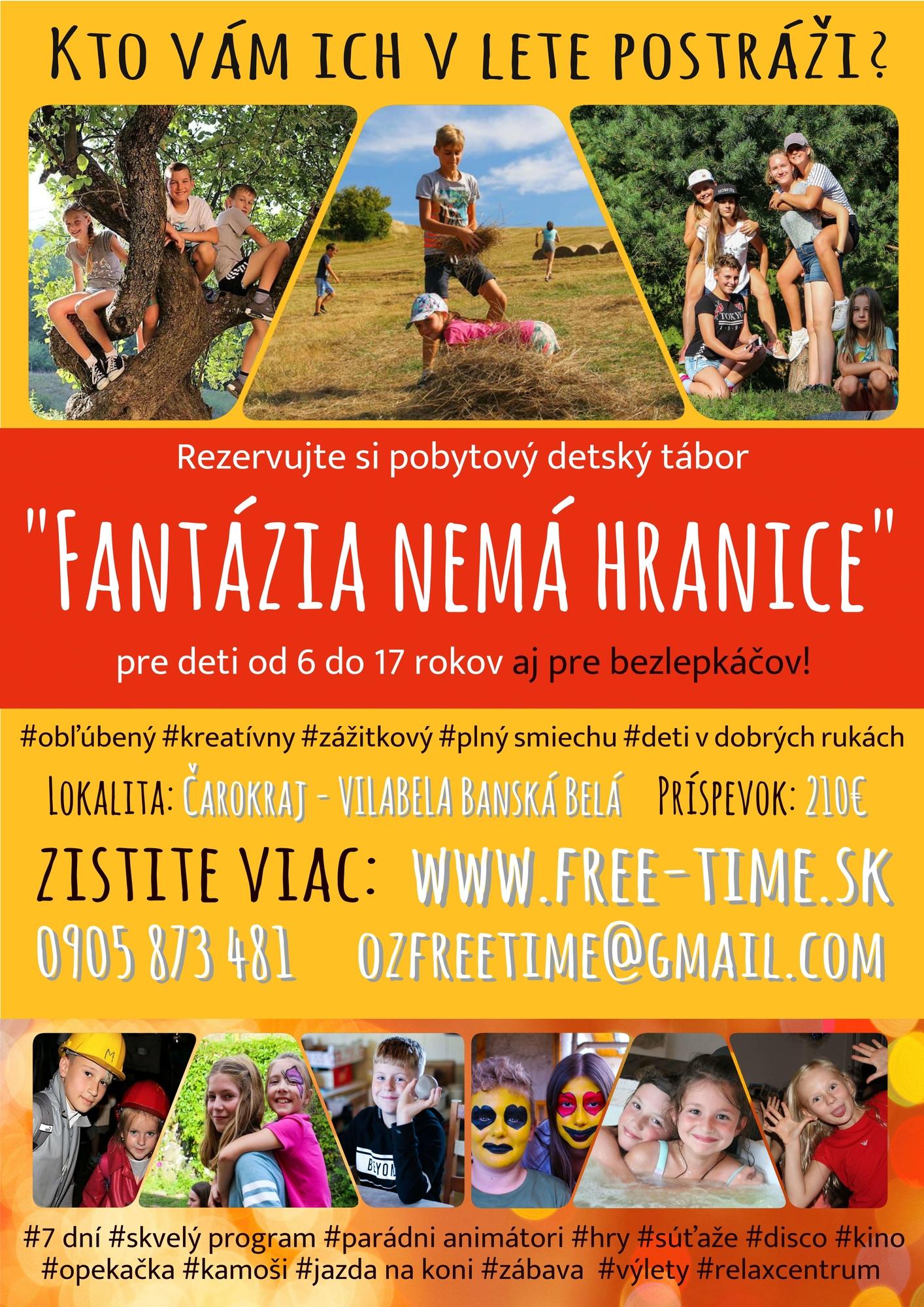 plagát na detský letný tábore Fantázia 2019