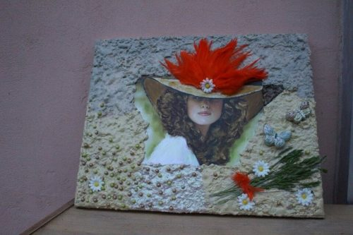 obraz vytvorený technikou Paverpol slečna s klobúkom