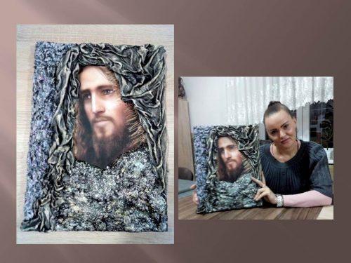 žena vytvorila obraz Ježiša na kurze Paverpolu pre dospelých