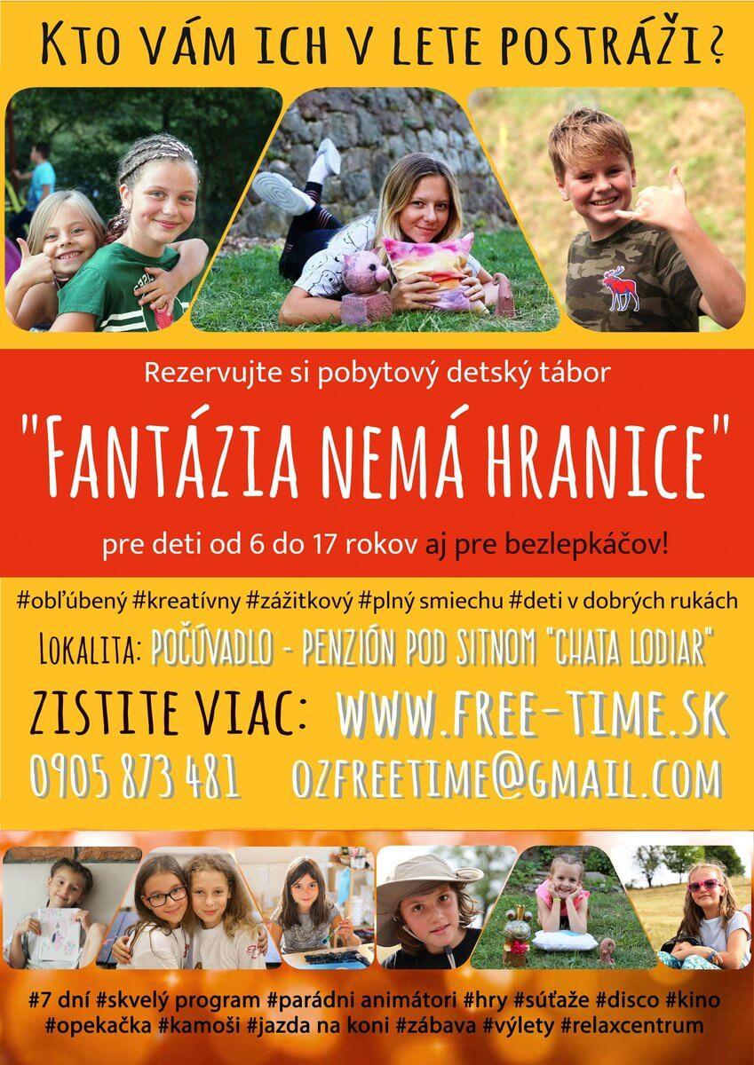 plagát na detský letný tábor Fantázia 2020